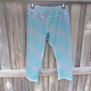 Kyodan Teal and Blue Striped capris Pocket Medium